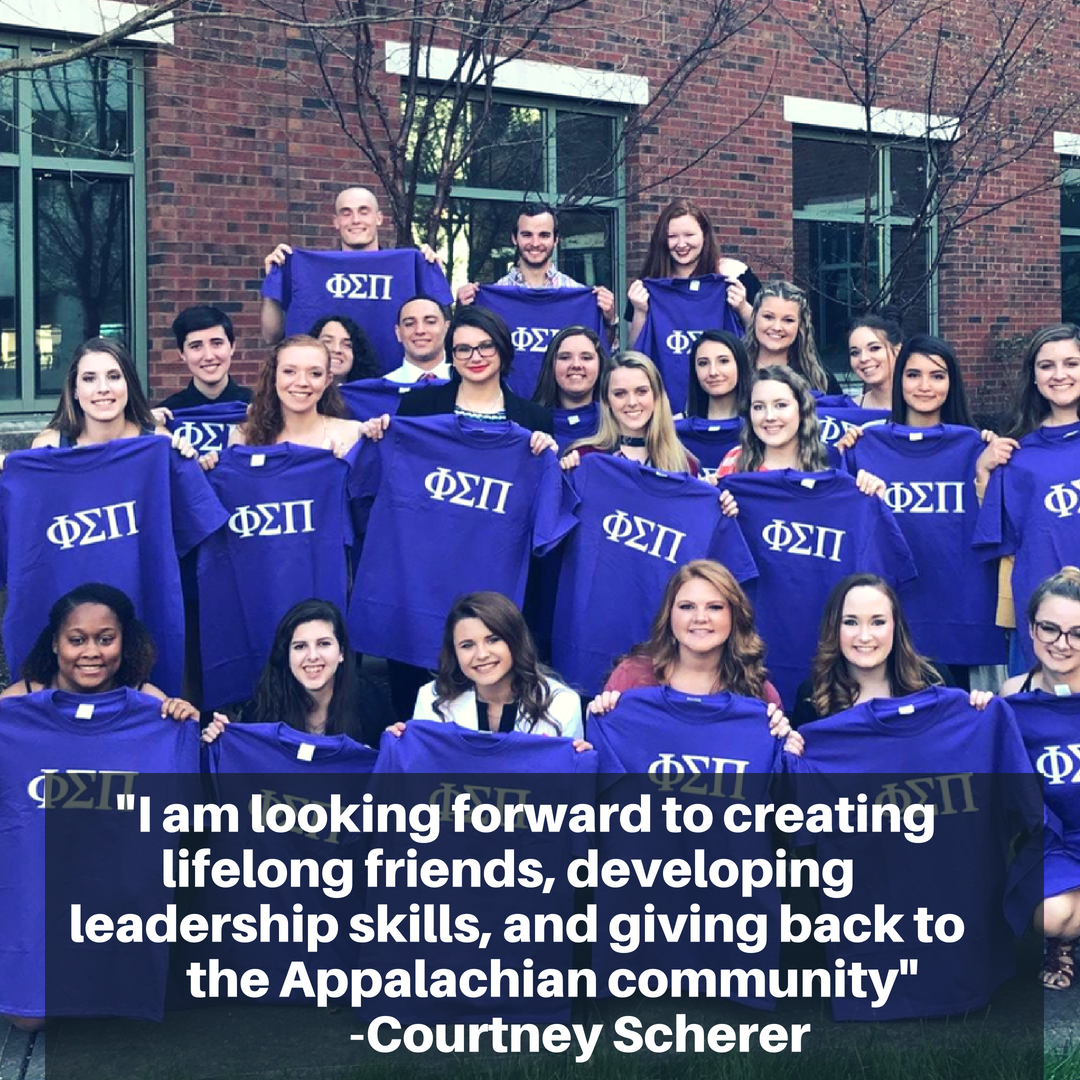 I am looking forward to creating lifelong friends, developing leadership skills, and giving back to the Appalachian community. - Courtney Scherer