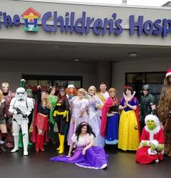 Cosplay Collective in front of the Children's Hospital